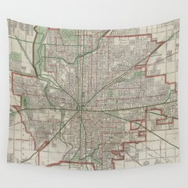 Vintage Map of Indianapolis Indiana (1921) Wall Tapestry