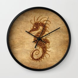 Aged Vintage Intricate Tribal Seahorse Design Wall Clock