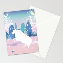 The Girl and the Bull in the Meadow Stationery Cards