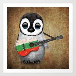 Baby Penguin Playing Bulgarian Flag Acoustic Guitar Art Print