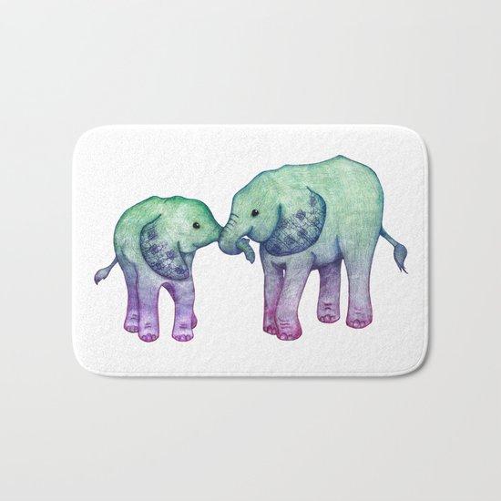 Baby Elephant Love - ombre mint & purple Bath Mat