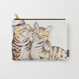 Bengal Cats Love Watercolor Ink Art Carry-All Pouch