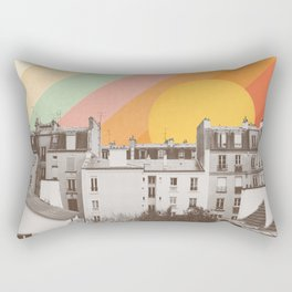 Rainbow Sky Above Paris Rectangular Pillow