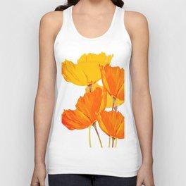 Orange and Yellow Poppies On A White Background #decor #society6 #buyart Unisex Tank Top