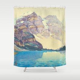Moraine Lake (Moren) Hiroshi Yoshida Japanese Woodblock Print Shower Curtain