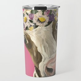 Cute Cow Art, Colorful Flower Crown Cow Art Travel Mug