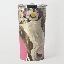 Cute Cow Art, Colorful Flower Crown Cow Art Travel Mug