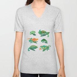 Chameleons in Jungle Unisex V-Neck