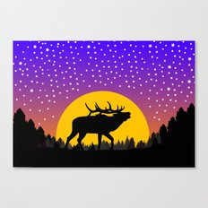 Elk Moon Stars Canvas Print
