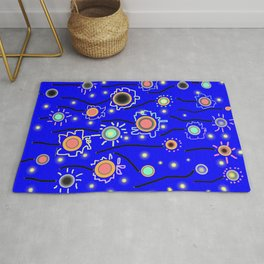 ABSTRACT STARRY LIGHTS ON BRILLIANT BLUE Rug