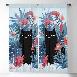 Popoki in Blue Blackout Curtain