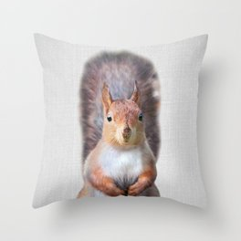 Squirrel - Colorful Throw Pillow