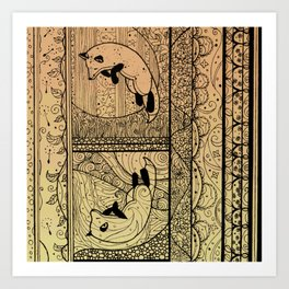 Leaping Fox Art Print