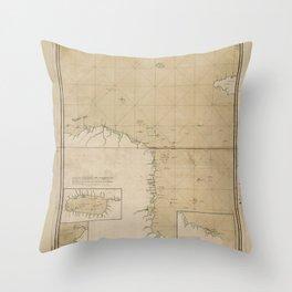Map of the Mosquito Shore (Mosquitia, Nicaragua) 1781 Throw Pillow