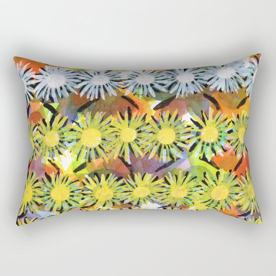 Rainbow Flower Pattern Rectangular Pillow