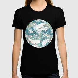 Whales and waves pattern T-shirt
