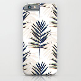Modern Blue Palm Leaves Gold Strokes White Design iPhone Case