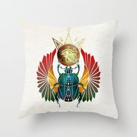 egyptian Throw Pillows featuring egyptian beetle by Manoou