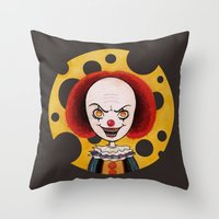pennywise Throw Pillows featuring Pennywise Cheese by ajd.abelita