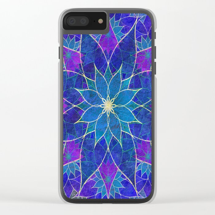 Lotus 2 - blue and purple Clear iPhone Case