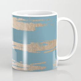 Abstract Painted Stripes Gold Tropical Ocean Blue Coffee Mug
