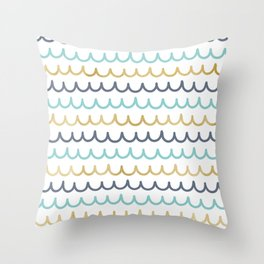 Golden Pastel Waves Throw Pillow