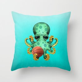 Cute Baby Octopus Playing With Basketball Throw Pillow