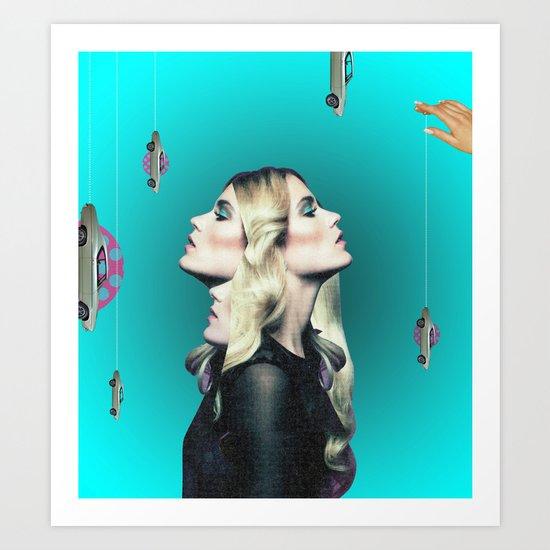 Frau auf blauem Grund Art Print