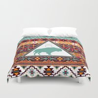 navajo Duvet Covers featuring Navajo Buffalo by crows nest