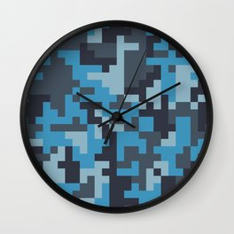 Blue and Grey Pixel Camo pattern Wall Clock