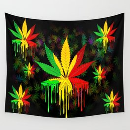 Marijuana Leaf Rasta Colors Dripping Paint Wall Tapestry