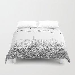 black and white winter landscape Duvet Cover