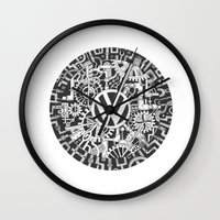 volkswagen Wall Clocks featuring Volkswagen Steampunk Mechanical Doodle by Squidoodle