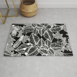 Leaves Black Rug