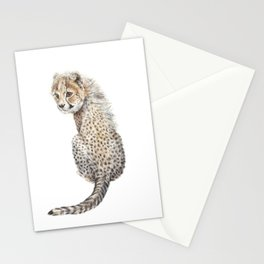 Watercolor Cheetah Painting Stationery Cards