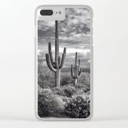 The Sonoran Desert in Black and White Clear iPhone Case