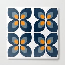 Minimal Art Mid Century Modern Leaf Flower Pattern Blue and Orange Metal Print