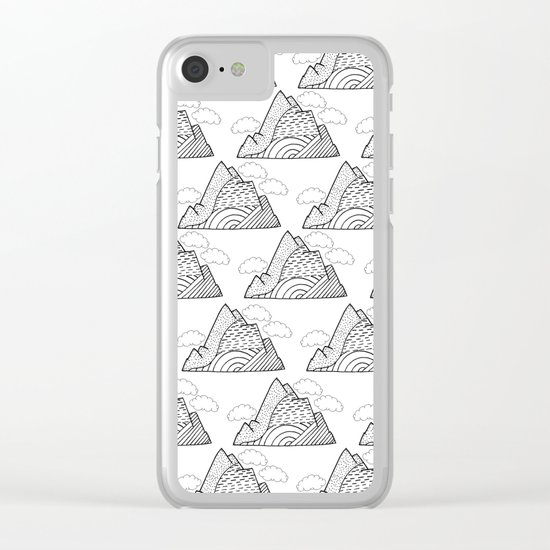 The small clouds and the mountains pattern Clear iPhone Case