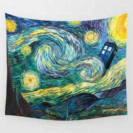 Tardis Art Starry Painting Night Wall Tapestry