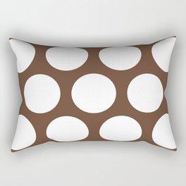 Large Polka Dots: Chocolate Brown Rectangular Pillow