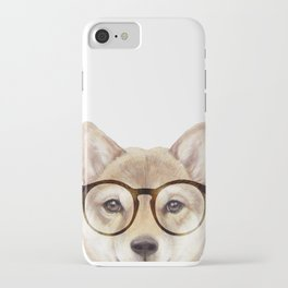 Shiba inu with glasses Dog illustration original painting print iPhone Case