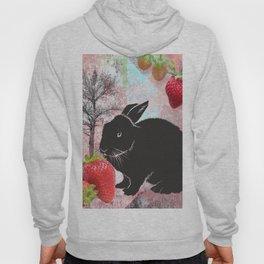 Black Rabbit and Strawberries Hoody