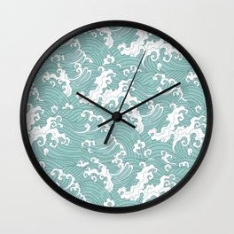 Traditional Hand Drawn Japanese Wave Ink Wall Clock