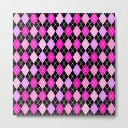 Pink Lavender Black Argyle Metal Print