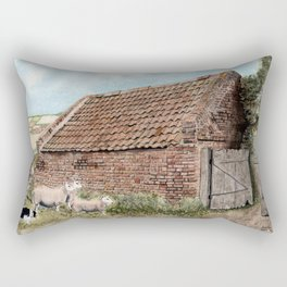 Farm Shed with Sheep Rectangular Pillow