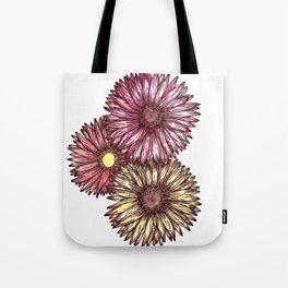 Pink and Yellow Gerber Daisies Watercolor and Ink Painting Tote Bag