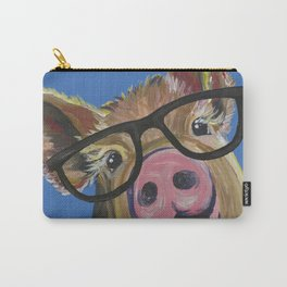 Pig with Glasses, Blue Pig Painting Carry-All Pouch