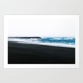Melancholic Beach Stroll in Iceland Art Print