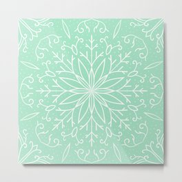 Single Snowflake - Mint Green Metal Print