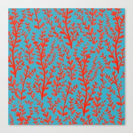 Turquoise and Red Leaves Pattern Canvas Print